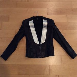Faith Connexion black leather jacket blazer